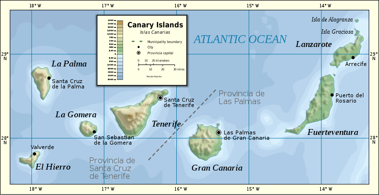 The Canary Islands map